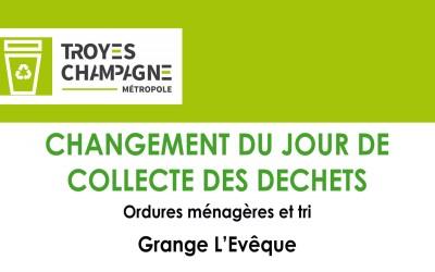 Grange L'Évêque : jour de collecte modifié